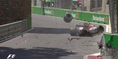 """Bakıda keçirilən """"Formula 1"""" yarışında dəhşətli qəza - FOTO-VİDEO"""