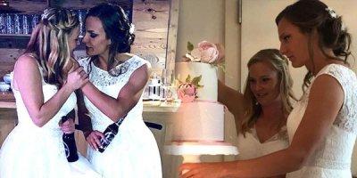 İki qadın futbolçu evləndi - FOTOLAR