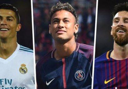 Ronaldoya böyük şok: Neymar və Messiyə uzaqdan baxır - SİYAHI