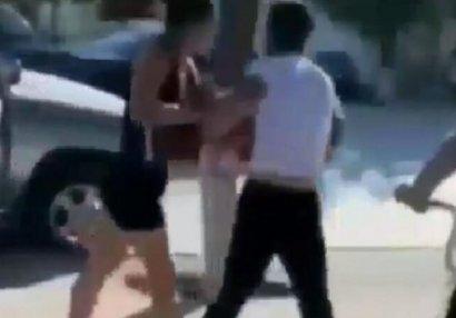 Bakıda idmançı qız oğlanı vəhşicəsinə döydü - ANBAAN VİDEO
