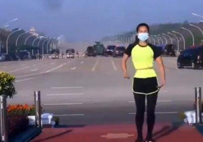Qadın məşqçi özü də bilmədən hərbi çevrilişi lentə aldı - VİDEO